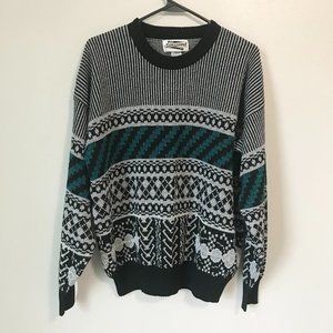 Vintage EXPRESSIONS Black White and Teal Sweater